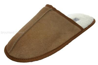 *SALE* Men's Dunlop Real Leather Mule Slippers Chestnut Brown Size 7