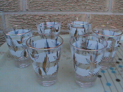 VINTAGE MID CENTURY White & Gold Cocktail 4 oz. Tumbler GLASSES (set of 6)