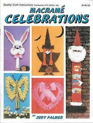 Macrame celebrations Judy Palmer craft instruction book patterns vintage 1978