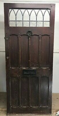 V Large Solid Oak Front Door Wooden Old Period Antique Manor Leaded Reclaimed