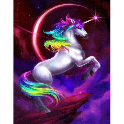 DIY 5D Diamond Painting Embroidery Cross Craft Stitch Art Kit Rainbow Unicorn UK