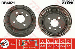 Fits Astra F 1.4 1.6 8v Petrol 91-99 Rear Brake Drums 200mm x 24mm