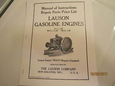 1938 Lauson W, WA, WB Gas Engine Instruction Parts  Manual