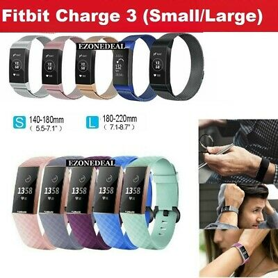 For Fitbit Charge 3 Replacement Silicone Metal Stainless Steel Band Sports (S-L)