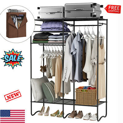 Heavy-Duty Zip Up Closet Shoe Organizer Metal Wardrobe Storage Clothes Rack US