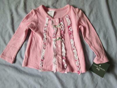 Laura Ashley Pink Cardigan 12 Months Baby 100% Cotton New