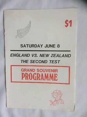 ENGLAND v NEW ZEALAND RUGBY PROGRAMME WELLINGTON 1985. SCARCE.