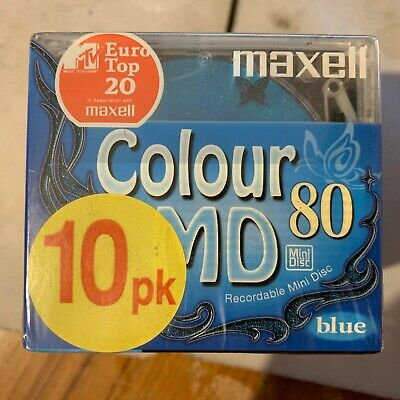 10 Maxell MiniDisc MD 80 Colour - New & Sealed