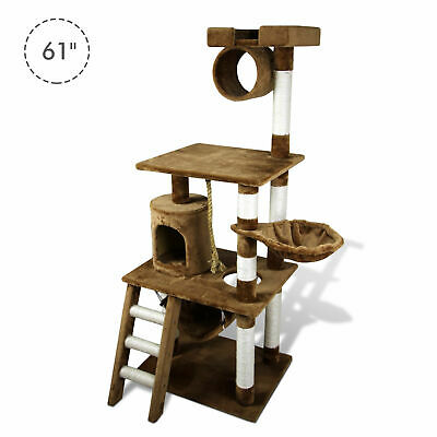 "61"" Deluxe Cat Scratching Tree Kitten Condo Play House Multi-level Tower"