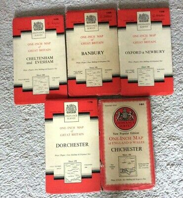 Vintage OS Ordnance Survey One-Inch Maps x 5  1947 to 1960 144,5 158, 178, 181