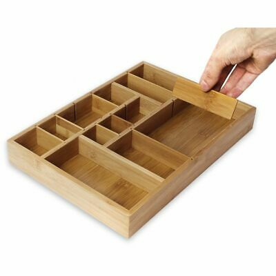 new Sabatier 10 pc Bamboo Drawer Organizer Set with 8 Plastic Accessories