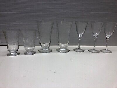 7 Vintage Clear Etched Optic Panel Water Glass Stemmed Glasses w/ Flowers
