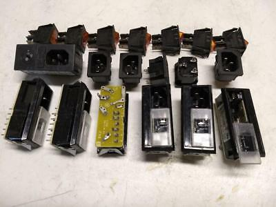 Lot of 7 Miyama DS-322A rocker switches, 6 IEC 6VJ1 AC sockets with fuse holder+