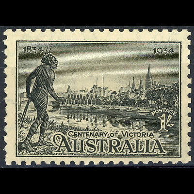 AUSTRALIA 1934 1s Black. Centenary. Perf 10.5. SG 149 Lightly Hinged Mint(AY194)