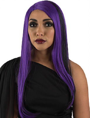 Long Black Purple Witch Wig Adults Halloween Vampire Costume Party Accessory