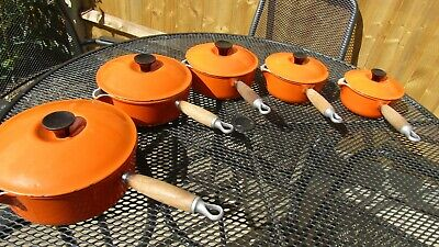 Le Creuset Cast Iron Volcanic Orange 5 Saucepans Set with Lids 14-16-18-20-22