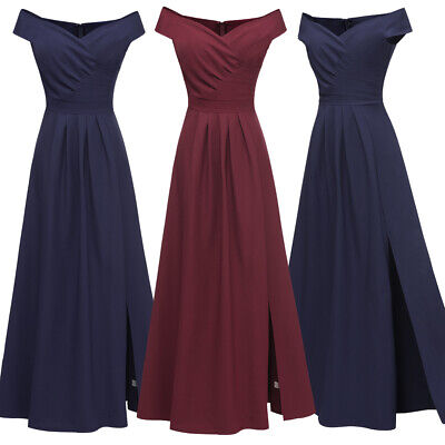 Women Formal Off Shoulder Long Maxi Dress Bridesmaid Party Evening Cocktail Gown