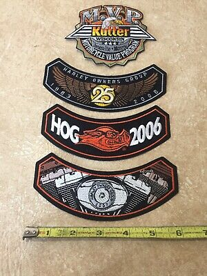 Harley Davidson Classic Logo Patch LOT OF 4 Sew Iron On Motorcycle Shield Bike