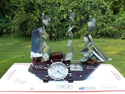 Vintage CLIPPER SHIP CLOCK - Night Light -  Sessions United  WORKS 1940's - 50's