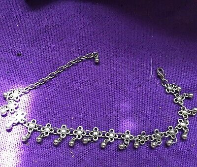 Silver Metal Anklet With Small Bells