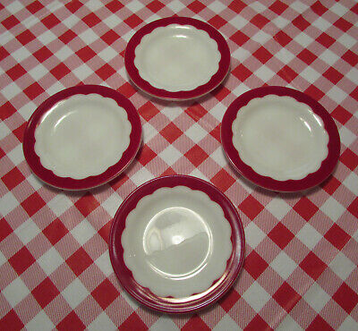 Vintage Corning, Ruby Red Scallped Cake Dishes. Set Of Four. Excellent Nice. #2