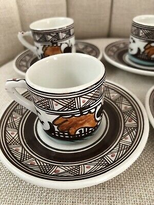 Vintage Hand Made In Greece Turkish Or Greek Coffee Cups And Saucers Set Of Four
