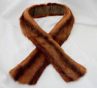 """Vintage Brown Striped Real Fur Collar 34"""" x 3"""" inches"""