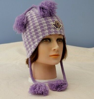 Roots Lilac Dogtooth Knitted Hat with Plaits Size L / XL