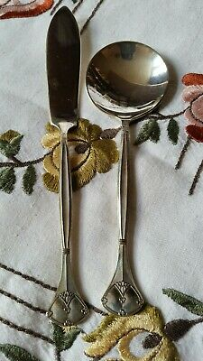 Antique Art Nouveau Silver Plated Butter Knife And Spoon Circa 1928