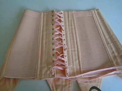 Vintage French pink lace corset with suspenders, small