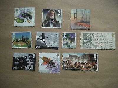 Lot 74 ) 2015 GB Commemorative Stamps  USED - RUGBY / £2.25 BEE / Star Wars
