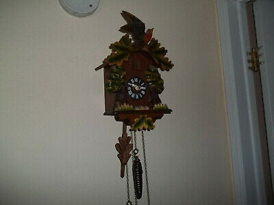 Vintage German Black Forest Wood Carved Birds Animated Bears Cuckoo Clock