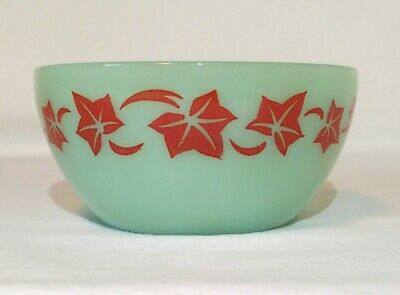 "Fire King Jadeite Bowl 5"" Red Ivy Breakfast Cereal * RARE * EVC Green Jadite"