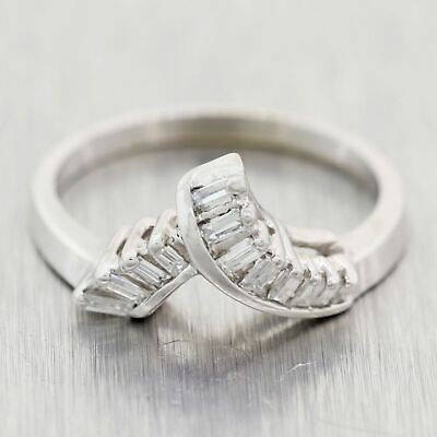 1930's Antique Art Deco 14k White Gold 1ctw Baguette Diamond Wedding Band Ring