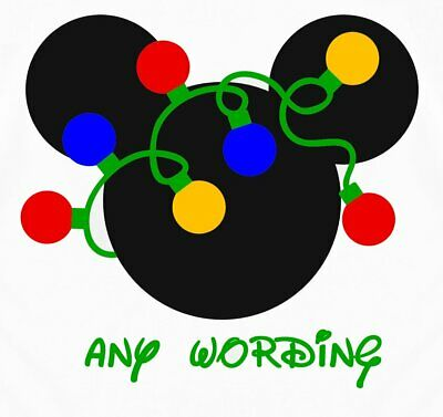 Disney******Christmas******Mickey Mouse  Personalized T-Shirt Iron On Transfer