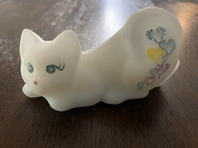 Fenton Glass White Satin Cat Hand Painted Flowers Pink Trim Resting