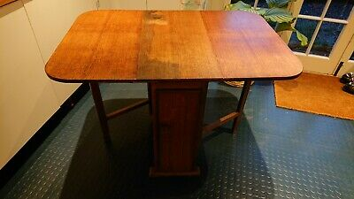 Vintage Oak Double Gate Legged Table With Cupboard - Antique1940s Gate Leg Table