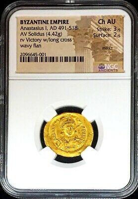 491- 518 Ad Gold Byzantine Empire Anastasius I Victory Coin Ngc Choice About Unc