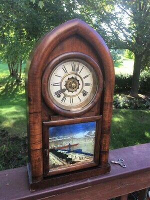 Waterbury Tall Beehive Antique Shelf Clock 8-Day