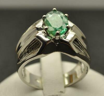 1.25 Ct All Natural Emerald .925 Sterling Silver Mens Deco Ring Sz 8.25