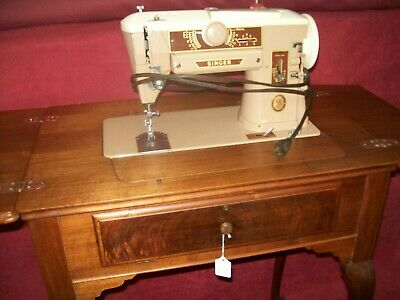 Vintage Singer 401a  Slant-O-Matic Sewing Machine and Queen Anne Cabinet