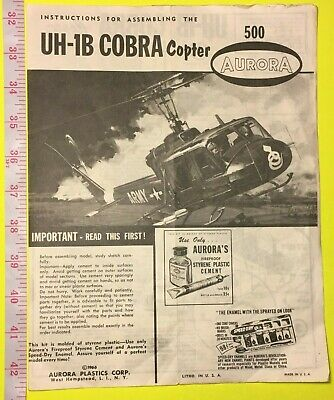 Vintage 1966 Aurora Model #500 ~ Uh-1B Cobra Us Army Helicopter ~ Instructions