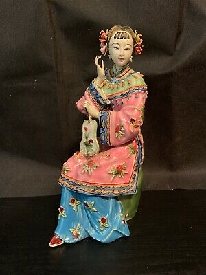 Chinese Shiwan Artistic Pottery Elegant Lady On Stool With Mirror