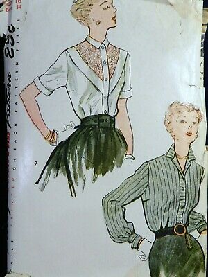 Vtg Charm 1940s Simplicity 3063 Buttoned Yoke Front Blouse Sewing PATTERN 16