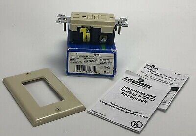 Leviton SmartLock GFCI 8599-I IVORY ELECTRICAL OUTLET w/Wallplate 15Amp 125Volt