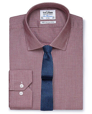 T.M.Lewin Fitted Burgundy Dogtooth Shirt - Button Cuff