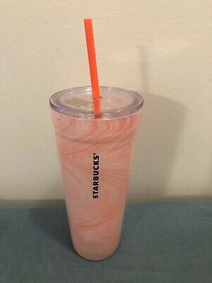RARE New NWT STARBUCKS 20 oz Pink Marbled Glass Reusable Double Wall Cold Cup!