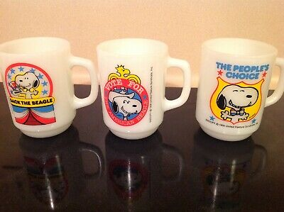 Vintage 1980 Snoopy For President Anchor Hocking Mugs 1, 2 and 4