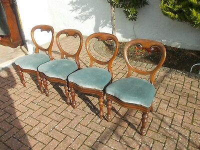 Victorian balloon back ANTIQUE SET James Reilly 1825-1889  4 chairs J R s PATENT