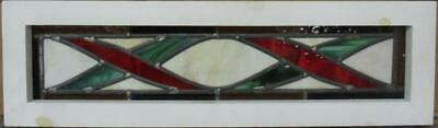 "MIDSIZE OLD ENGLISH LEAD STAINED GLASS WINDOW Bordered Geometric 26.25"" x 7.75"""